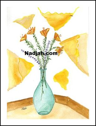 0072-Yellow-Lillies-In-Blue-Vase
